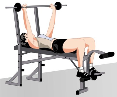 barbell-bench-press-women-start-position Dumbbell Workout For Chest Without Bench