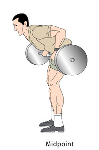 Barbell Rows Midpoint Position