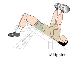 Decline Dumbbell Press Midpoint Position