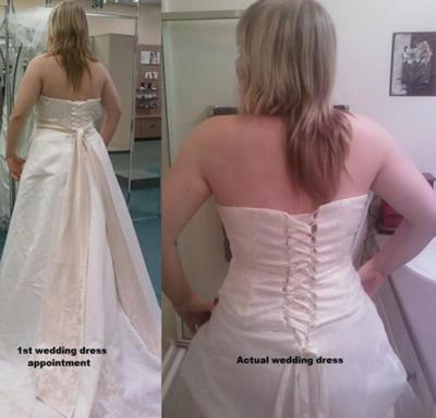 1st wedding fitting vs. my dress I decided on (recieved yesterday)